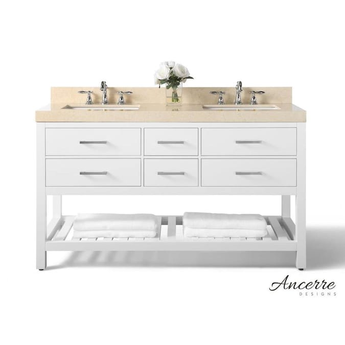 White Double Sink Bathroom Vanity With, 62 Inch Double Sink Bathroom Vanity Set
