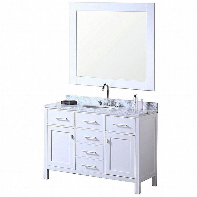 Design Element London 48 In White Single Sink Bathroom Vanity With White Marble Top Mirror Included In The Bathroom Vanities With Tops Department At Lowes Com