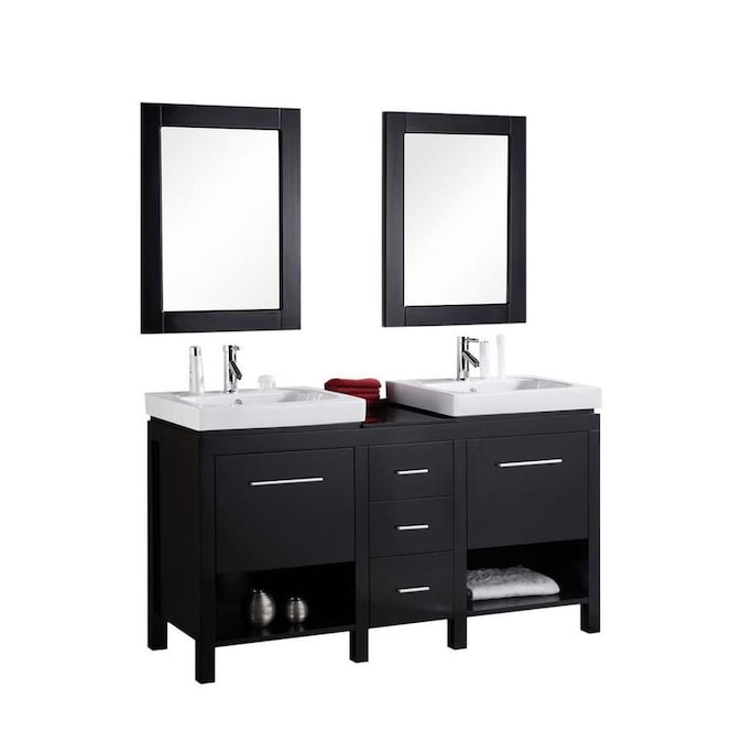 Design Element New York 60 In Espresso Drop In Double Sink Bathroom Vanity With White Ceramic Top Mirror Included In The Bathroom Vanities With Tops Department At Lowes Com