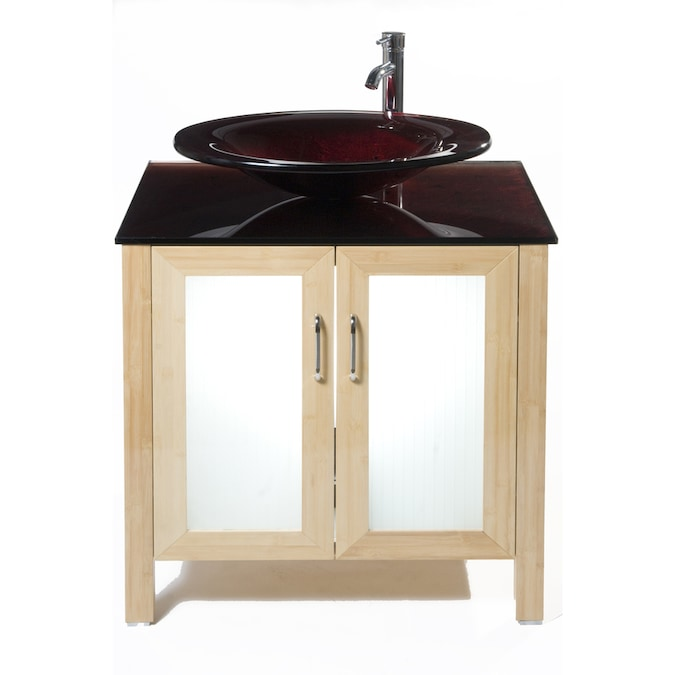 Bionic Waterhouse 31 In X 22 In Light Bamboo Single Sink Bathroom Vanity With Tempered Glass Top Faucet Included In The Bathroom Vanities With Tops Department At Lowes Com