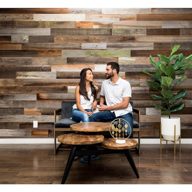 Rewoodd Naturally Preserved Peel And Stick 5 In Variable Length 4 Ft Redwood Wall Plank Coverage Area 20 Sq Ft In The Wall Planks Department At Lowes Com