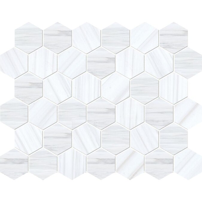 Marble Systems Bianco Dolomiti Classic Marble 6 Pack Bianco Dolomiti Classic 13 In X 13 In Polished Natural Stone Marble Hexagon Patterned Floor And Wall Tile In The Tile Department At Lowes Com