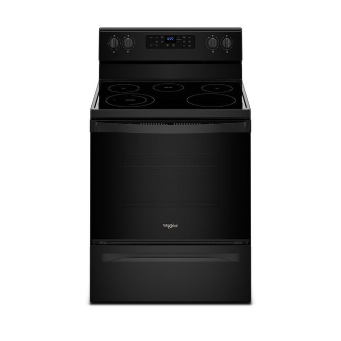 Whirlpool 5 3 Cu Ft Freestanding Electric Range With Five Elements And Frozen Bake Technology Black In The Single Oven Electric Ranges Department At Lowes Com