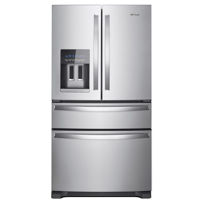 Whirlpool 25 2 Cu Ft 3 Door 36 In French Door Refrigerator With Ice Maker And Interior Water Dispenser Fingerprint Resistant Stainless Steel In The French Door Refrigerators Department At Lowes Com