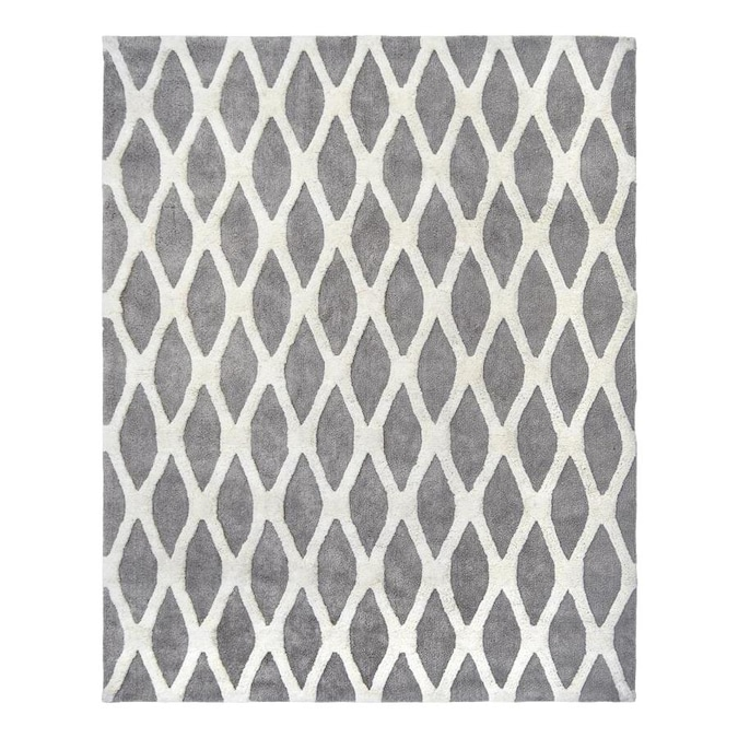 Allen Roth Barrbridge 9 X 12 Grey White Indoor Geometric Area Rug In The Rugs Department At Lowes Com