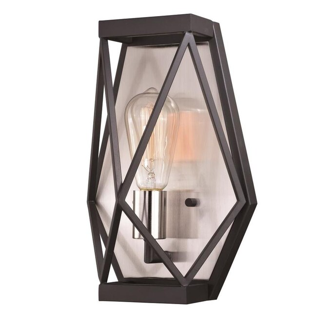 Cascadia Hailey 8 5 In W 1 Light Black Graphite And Satin Nickel Industrial Wall Sconce In The Wall Sconces Department At Lowes Com