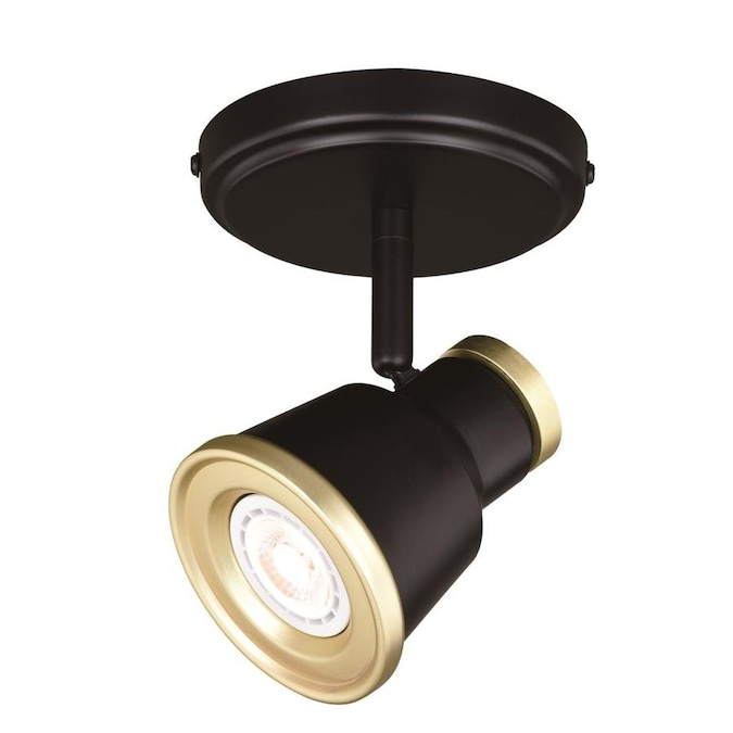 Cascadia Fairhaven 1 Light 5 In Textured Black With Natural Brass Dimmable Standard Flush Mount Fixed Track Light Kit In The Fixed Track Lighting Kits Department At Lowes Com