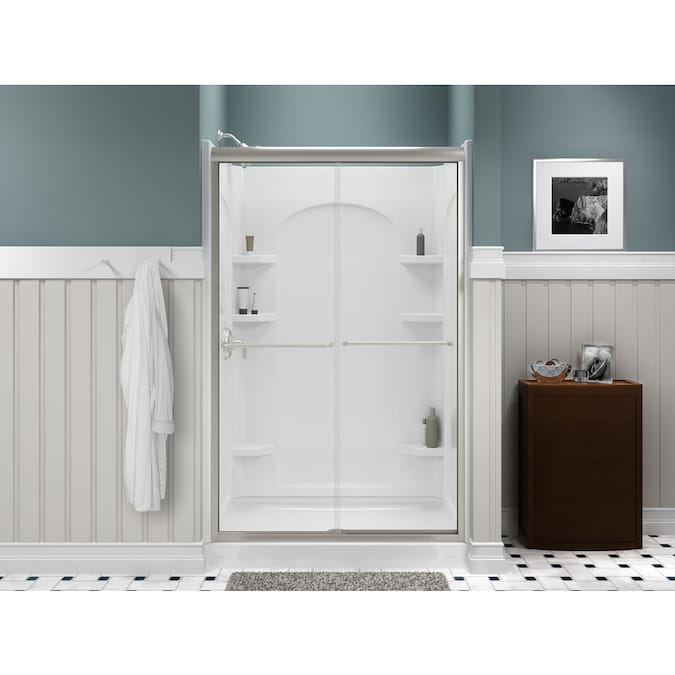 Sterling Ensemble Curve 72 5 In X 72 5 In White Shower Surround Side Wall Panel In The Shower Wall Panels Department At Lowes Com