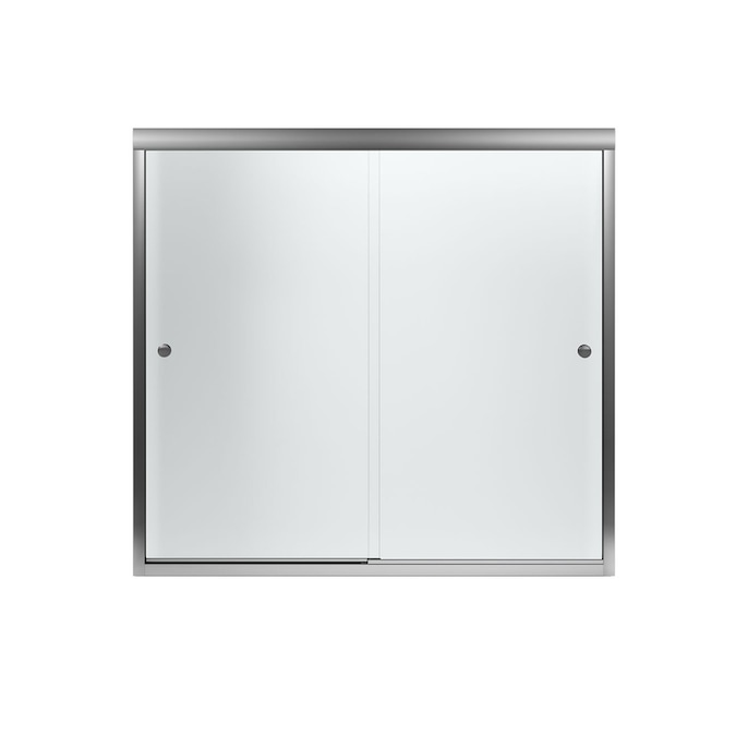 Sterling Finesse 55 5 In H X 22 75 In To 27 75 In W Frameless Sliding Silver Shower Door Frosted Patterned Glass In The Shower Doors Department At Lowes Com