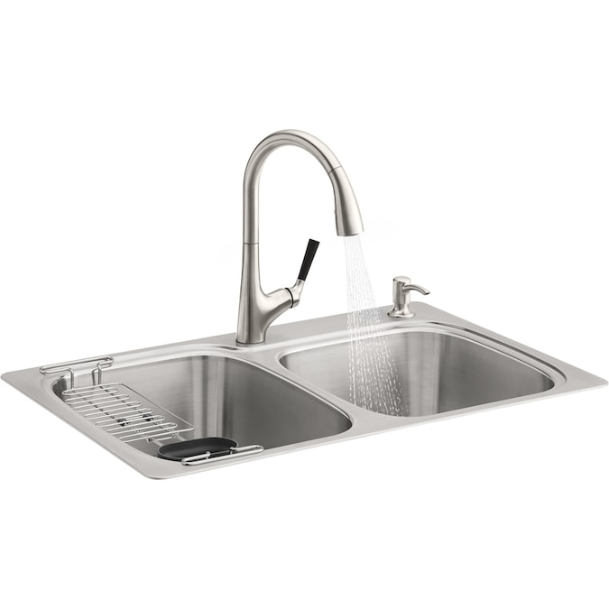 Kohler All In One Dual Mount 33 In X 22 In Brushed Stainless Steel Double Offset Bowl 2 Hole Kitchen Sink All In One Kit In The Kitchen Sinks Department At Lowes Com
