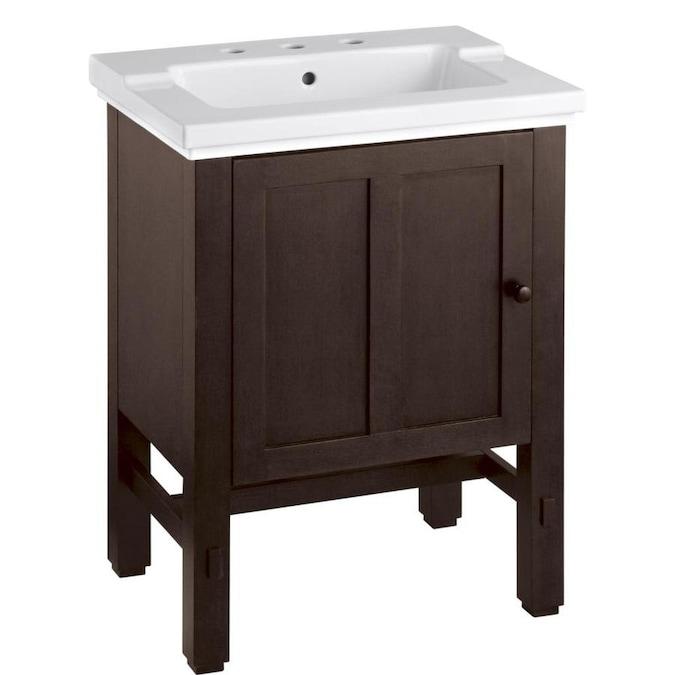 Kohler Tresham 25 In Woodland Brown Single Sink Bathroom Vanity With White Ceramic Top In The Bathroom Vanities With Tops Department At Lowes Com