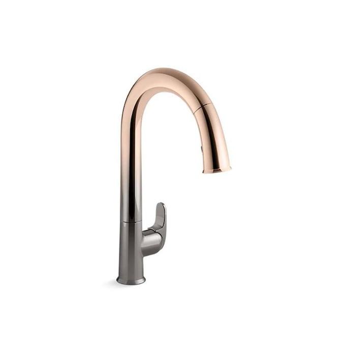 Kohler Sensate Vibrant Ombre Titanium Rose Gold 1 Handle Deck Mount High Arc Touchless Kitchen Faucet In The Kitchen Faucets Department At Lowes Com