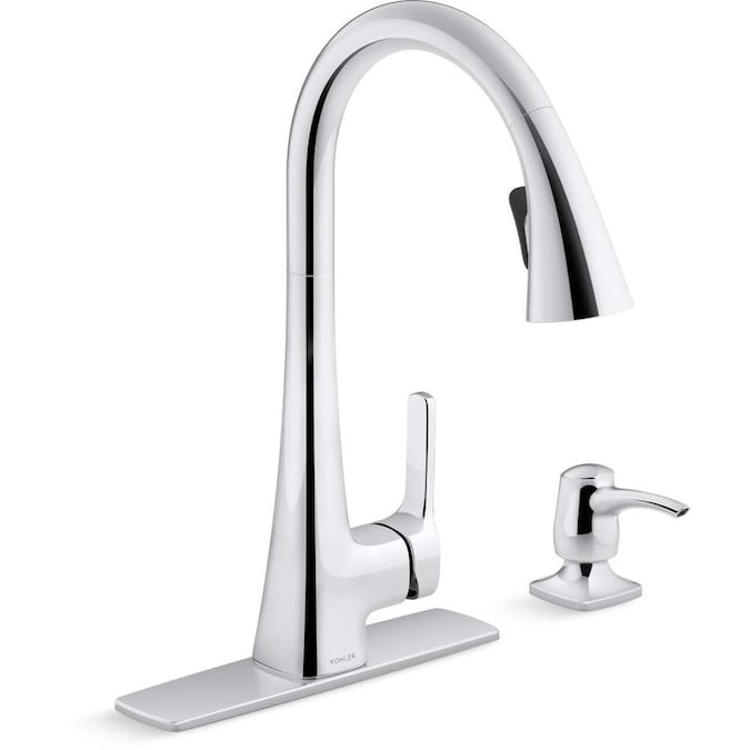 Kohler Maxton Polished Chrome 1 Handle Deck Mount Pull Down Handle Kitchen Faucet Deck Plate Included In The Kitchen Faucets Department At Lowes Com