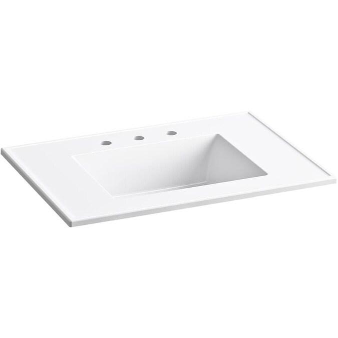 Kohler Ceramic Impressions 31 In White Vitreous China Single Sink Bathroom Vanity Top In The Bathroom Vanity Tops Department At Lowes Com