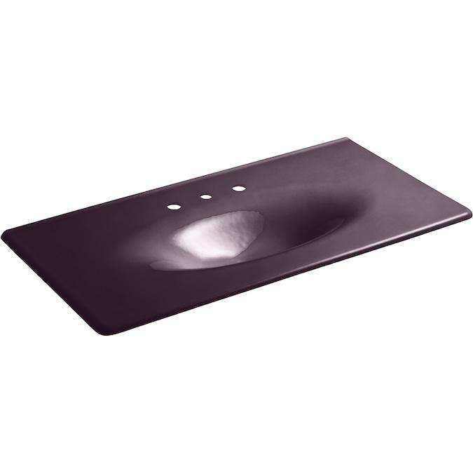 Kohler Iron Impressions 43 In Black Plum Cast Iron Single Sink Bathroom Vanity Top In The Bathroom Vanity Tops Department At Lowes Com