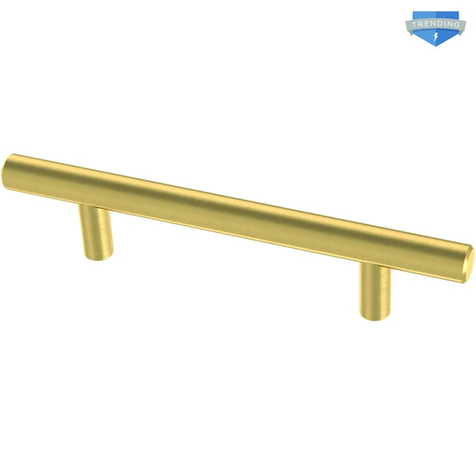 Brainerd Bar 3 3 4 In Center To Center Brushed Brass Cylindrical Bar Drawer Pulls In The Drawer Pulls Department At Lowes Com