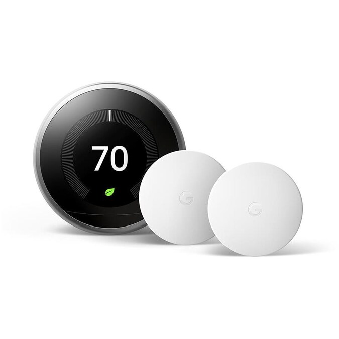 Google Nest Learning Smart Thermostat 3rd Generation With Wifi Compatibility In Stainless Steel And Nest Temperature Smart Sensor 2 Pack In The Smart Thermostats Department At Lowes Com