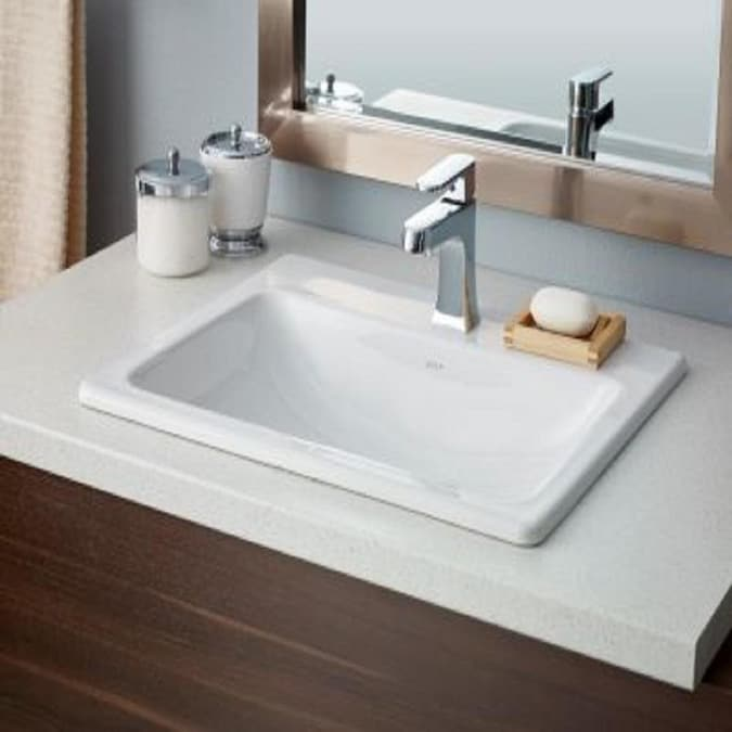 Cheviot Manhattan White Porcelain Drop In Or Undermount Square Bathroom Sink With Overflow Drain 17 75 In X 21 63 In In The Bathroom Sinks Department At Lowes Com