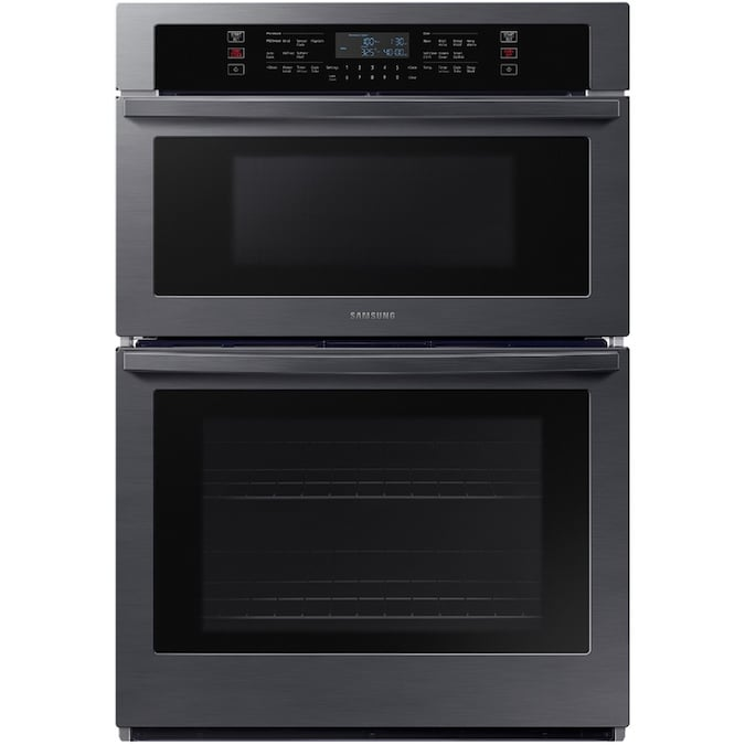 Samsung 30 In Self Cleaning Microwave Wall Oven Combo Black Stainless Steel The Combinations Department At Lowes