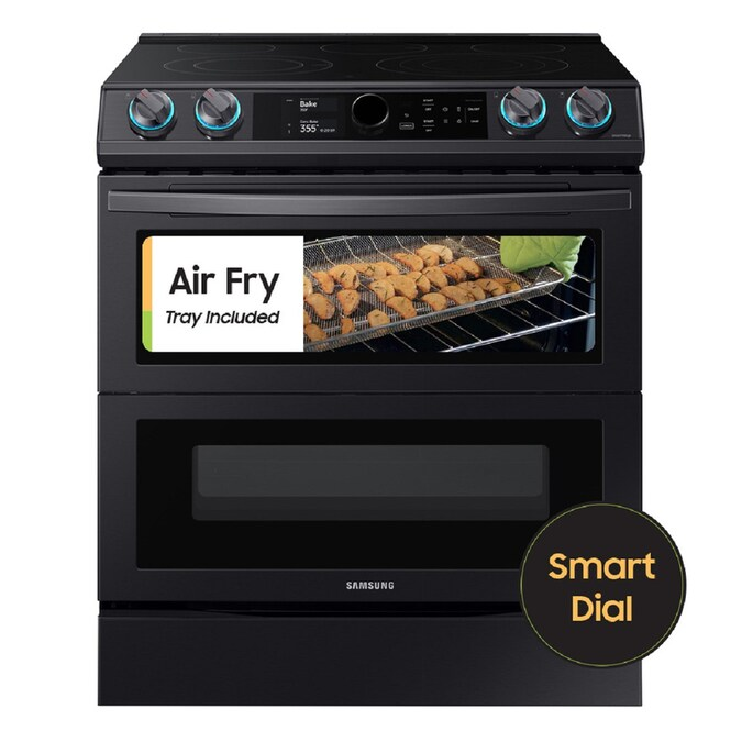 Samsung 30 In Smooth Surface 5 Elements 3 4 Cu Ft 2 7 Cu Ft Self Cleaning Air Fry Convection Oven Slide In Double Oven Electric Range Fingerprint Resistant Black Stainless Steel In The Double Oven Electric Ranges Department At