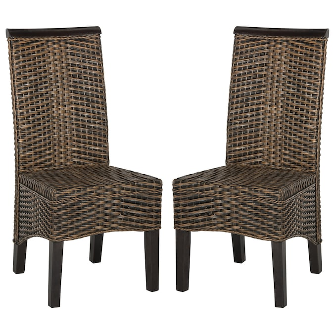 Safavieh Set Of 2 Odette Casual Dining Side Chair Wicker Frame In The Dining Chairs Department At Lowes Com