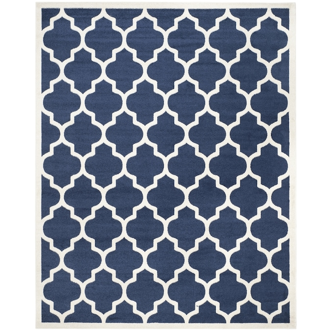 Safavieh Amherst Barret 10 X 14 Navy Beige Indoor Outdoor Trellis Farmhouse Cottage Area Rug In The Rugs Department At Lowes Com