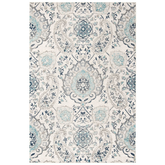Safavieh Madison Abbey 7 X 9 Cream Light Gray Indoor Floral Botanical Bohemian Eclectic Area Rug In The Rugs Department At Lowes Com