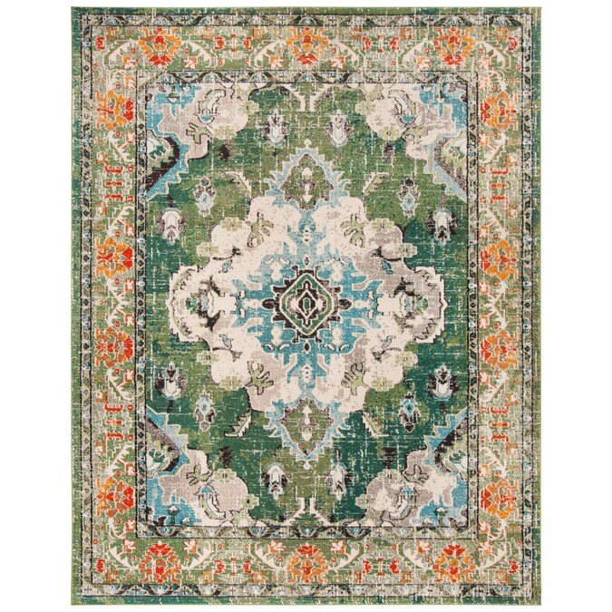 Safavieh Monaco Mahal 9 X 12 Forest Green Light Blue Distressed Overdyed Oriental Area Rug In The Rugs Department At Lowes Com