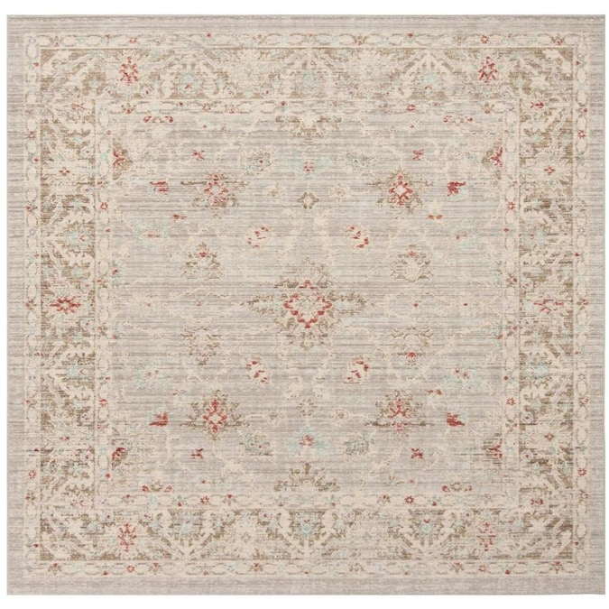 Safavieh Windsor Ara 6 X 6 Light Gray Brown Square Indoor Distressed Overdyed Vintage Area Rug In The Rugs Department At Lowes Com