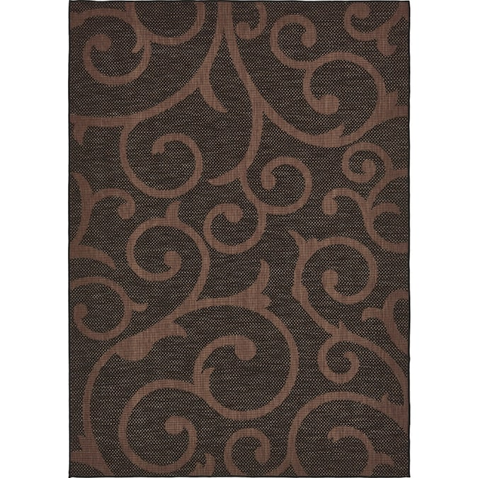 Unique Loom Vine Outdoor 8 X 11 Chocolate Brown Black Indoor Outdoor Damask Bohemian Eclectic Area Rug In The Rugs Department At Lowes Com