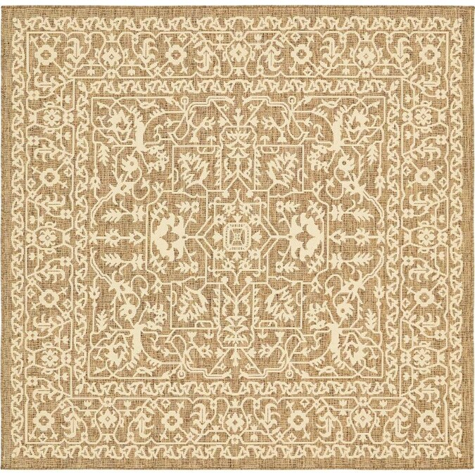Unique Loom Allover Outdoor 6 X 6 Brown Beige Square Indoor Outdoor Medallion Vintage Area Rug In The Rugs Department At Lowes Com