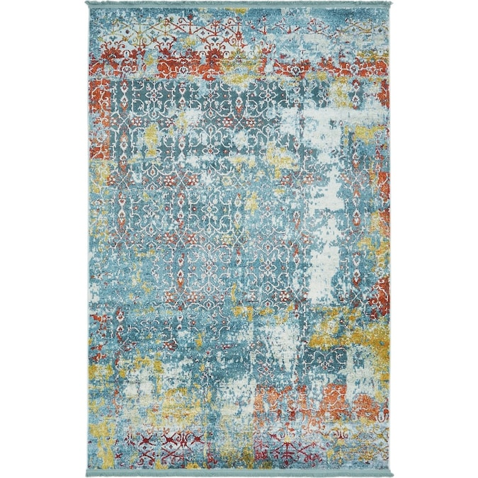 Unique Loom Alamar Baracoa 5 X 8 Teal Ivory Indoor Abstract Bohemian Eclectic Area Rug In The Rugs Department At Lowes Com