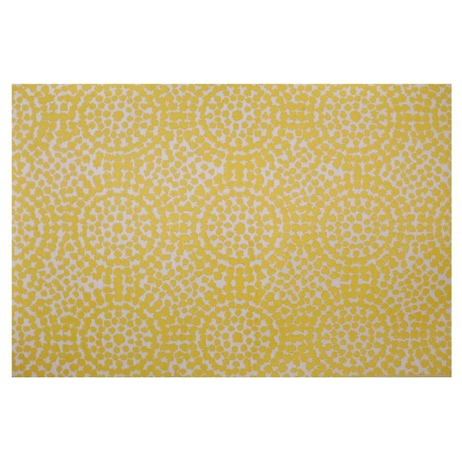 Garden Treasures 6 X 9 Yellow White Indoor Outdoor Abstract Area Rug In The Rugs Department At Lowes Com