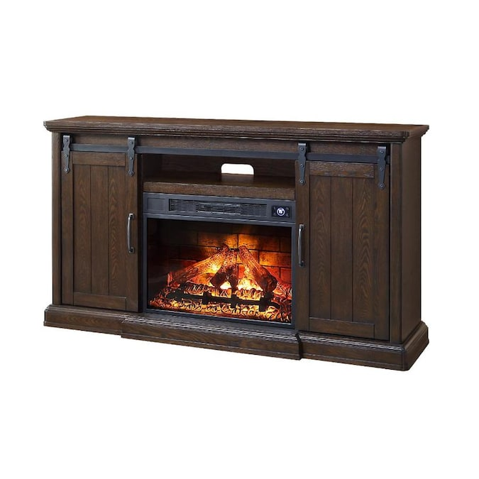 Febo Flame 62 In W Walnut Infrared Quartz Electric Fireplace In The Electric Fireplaces Department At Lowes Com