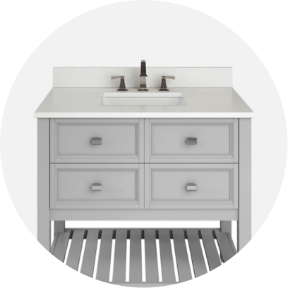 A white vanity with white marble top.