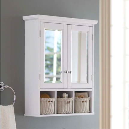 Bathroom Storage, White Over The Toilet Cabinet With Towel Bar