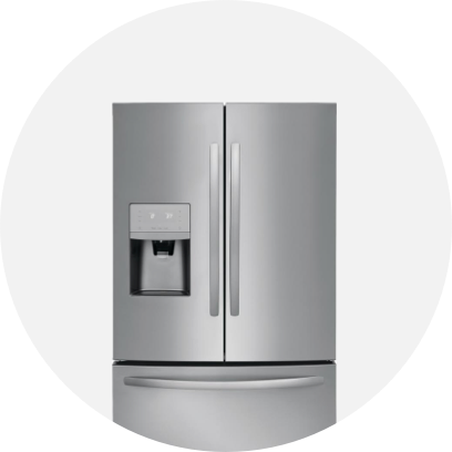 A stainless steel French door refrigerator with water dispenser.