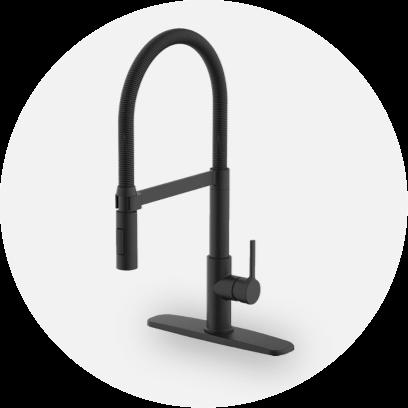 A matte black kitchen faucet.