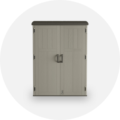 A beige, two-door tool storage unit.