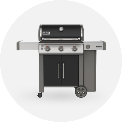 A black and silver Weber grill.