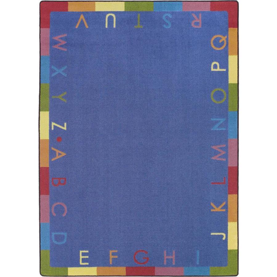 Joy Carpets Rainbow Alphabet Blue Oval Indoor Machine-Made