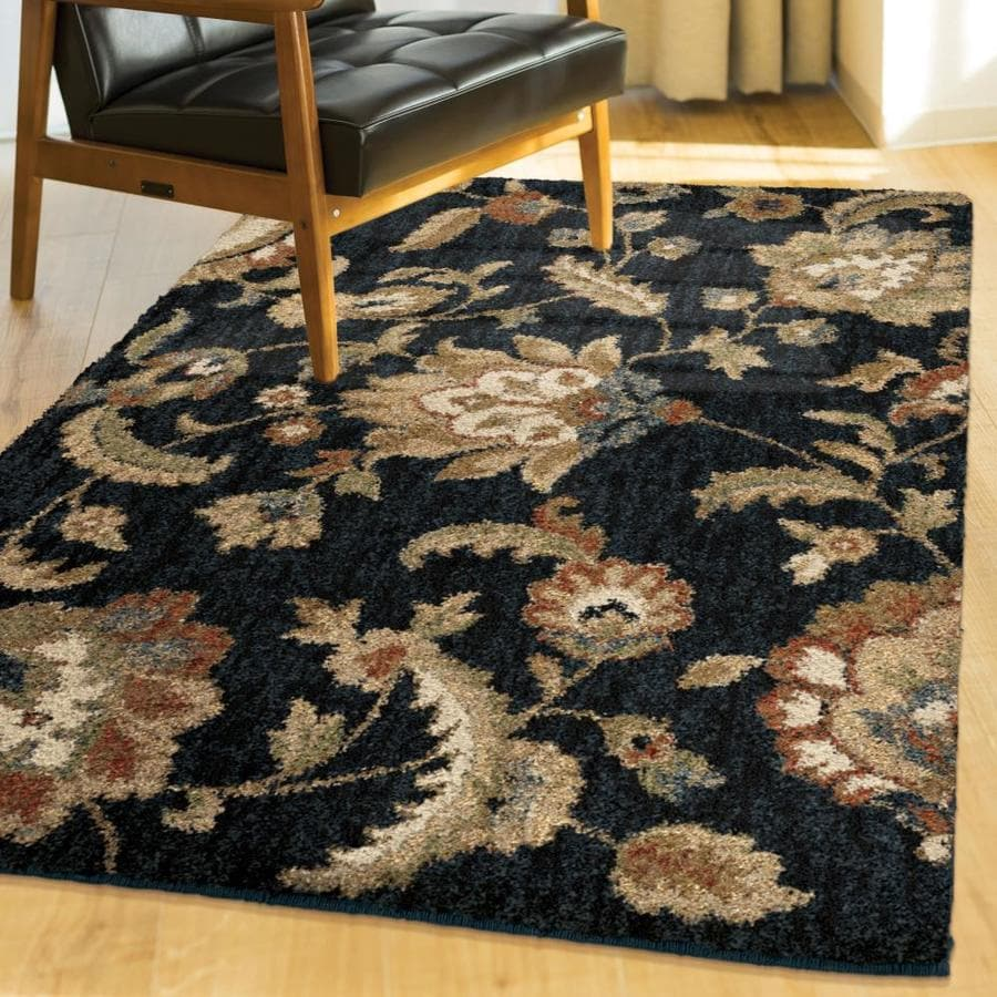 allen + roth Cliffony Dark Denim Rectangular Indoor Machine-made Nature Area Rug (Common: 4 x 6; Actual: 3-ft W x 5-ft L)