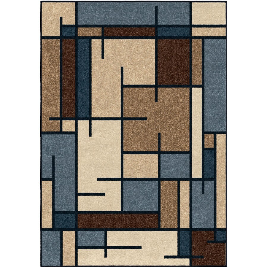 allen + roth Addington Liberty Blue Rectangular Indoor Machine-made Southwestern Area Rug (Common: 5 x 7; Actual: 5-ft W x 7-ft L)