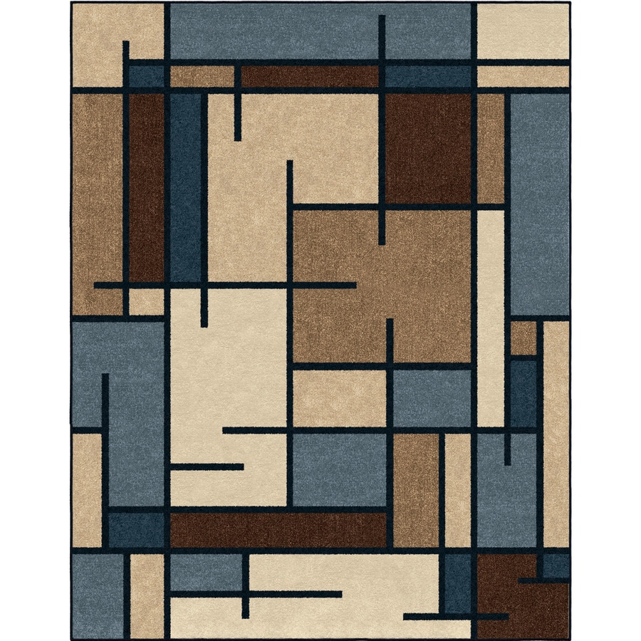 Allen + Roth Addington Liberty Blue Rectangular Indoor Machine Made  Southwestern Area Rug (Common