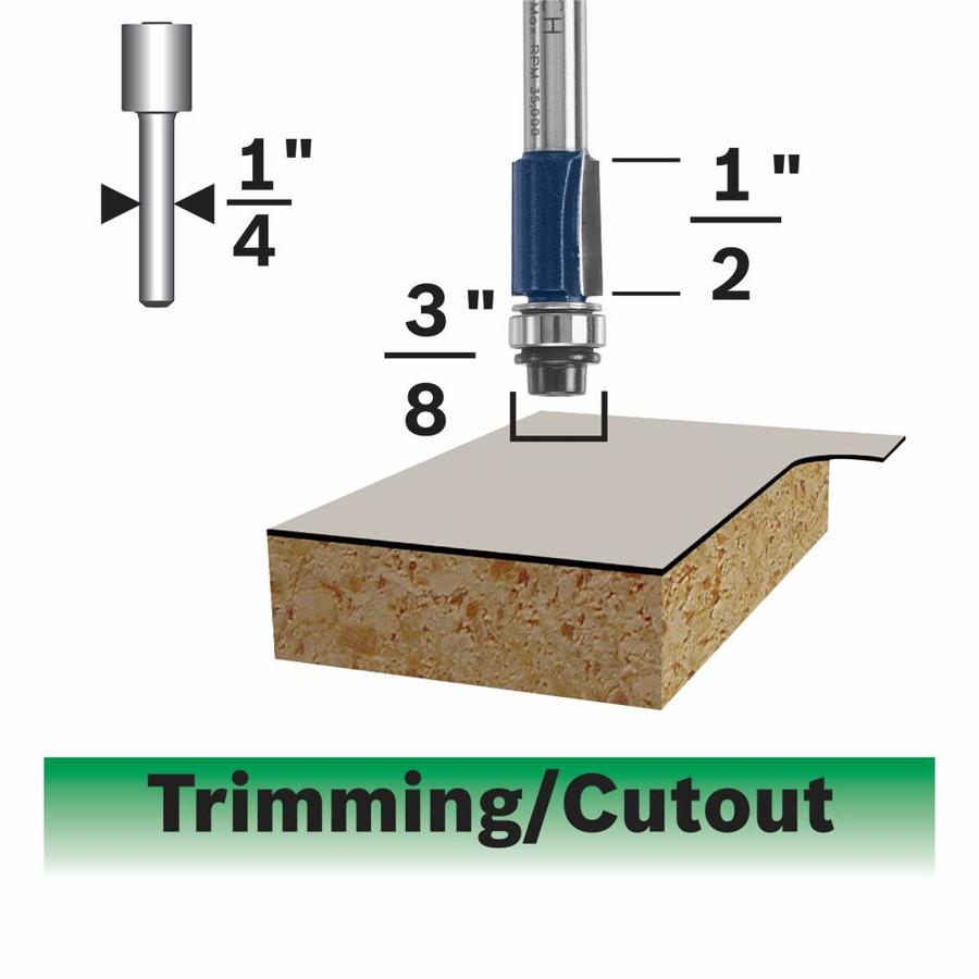 Bosch Laminate Flush Trimming Bit, 2 Flute 3/8-in x 1/2-in Ball Bearing Pilot, 1/4-in Shank