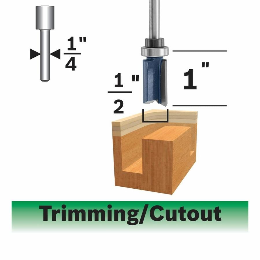 Bosch 85601MC 1//2-Inch Diameter 1-1//2-Inch Cut Carbide Tipped Double Flute Templet Trimming Router Bit 1//2-Inch Shank