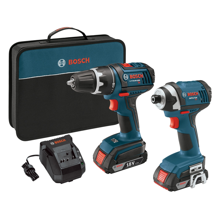 Bosch 2-Tool 18-Volt Lithium Ion (Li-ion) Brushed Motor Cordless Combo Kit with Soft Case