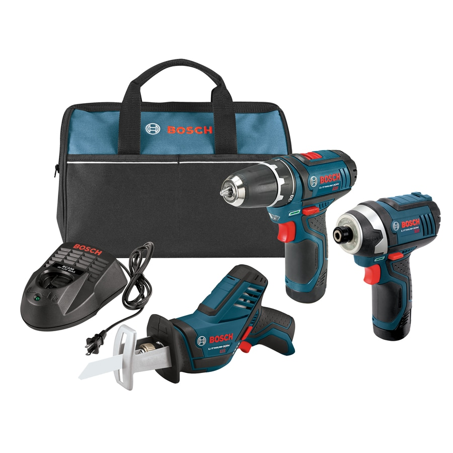 Bosch 3-Tool 12-Volt Max Lithium Ion (Li-ion) Brushed Motor Cordless Combo Kit with Soft Case