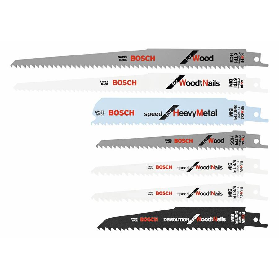 Bosch 7-Pk. Carbon and Bi-Metal Reciprocating Saw Blade Set