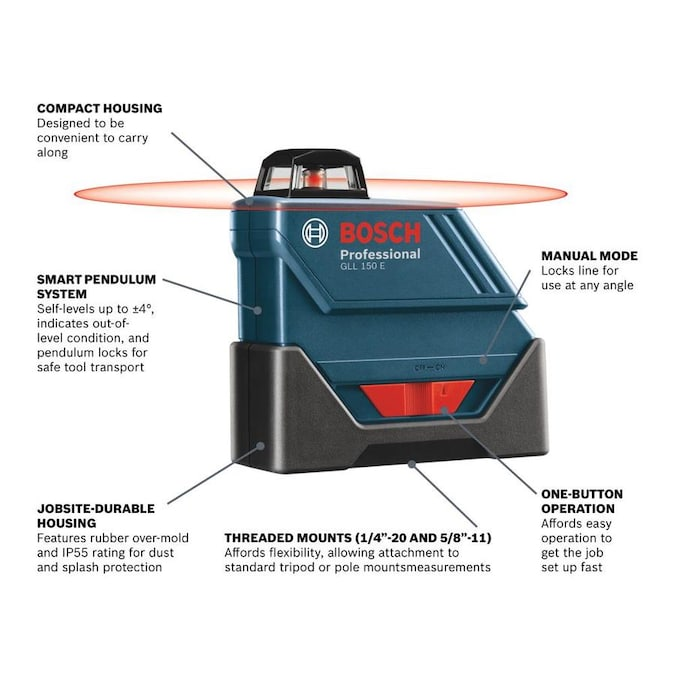 Bosch 500 Ft Red Beam Self Leveling Line Generator 360 Laser Level With Case In The Laser Levels Department At Lowes Com